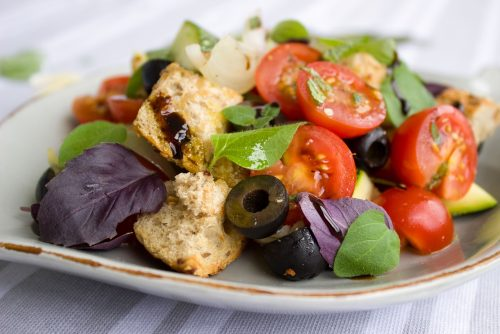 tomatoes, bread, salad
